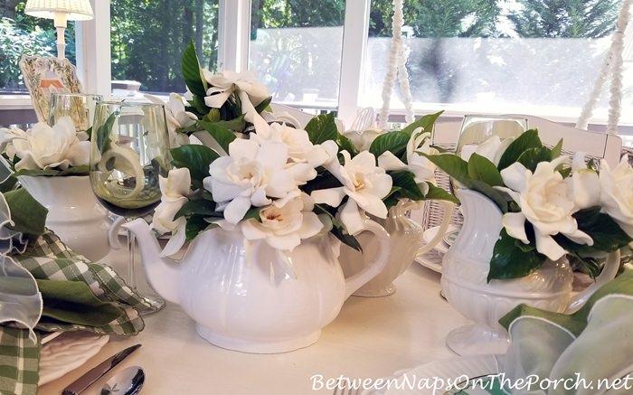 Gardenias in Spring Table Setting, Gardenia Centerpiece