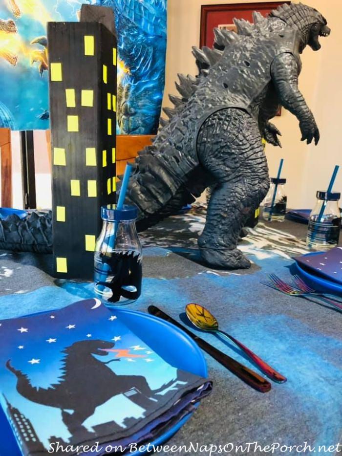Godzilla Napkins, Godzilla Glasses, Godzilla Themed Table Setting