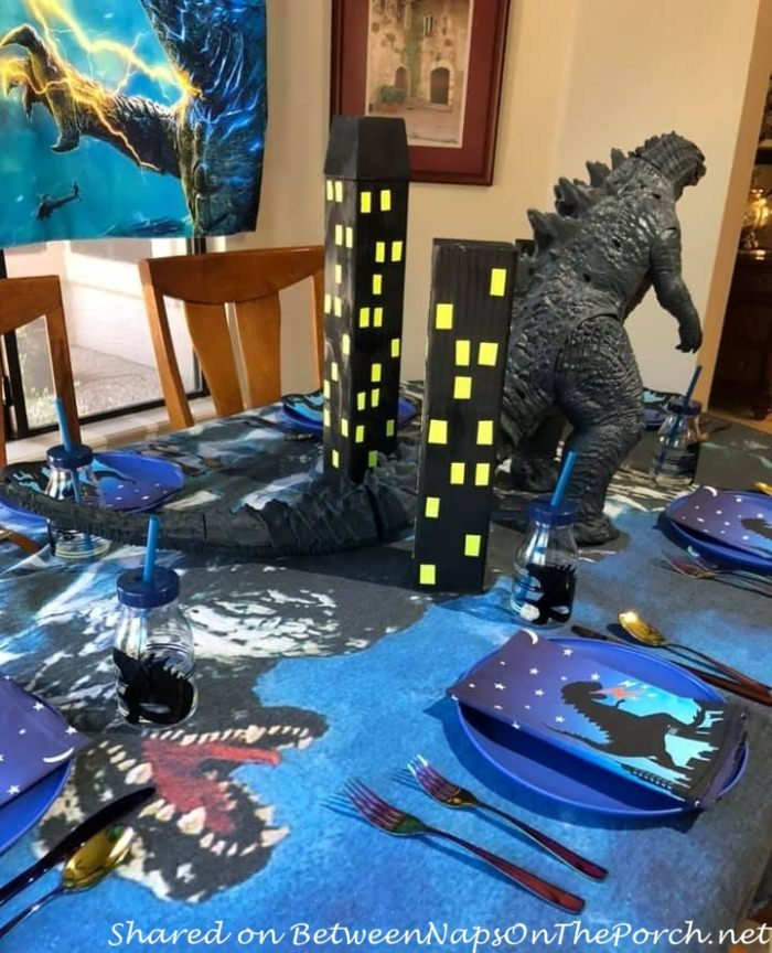 Godzilla Themed Table, Great for Party