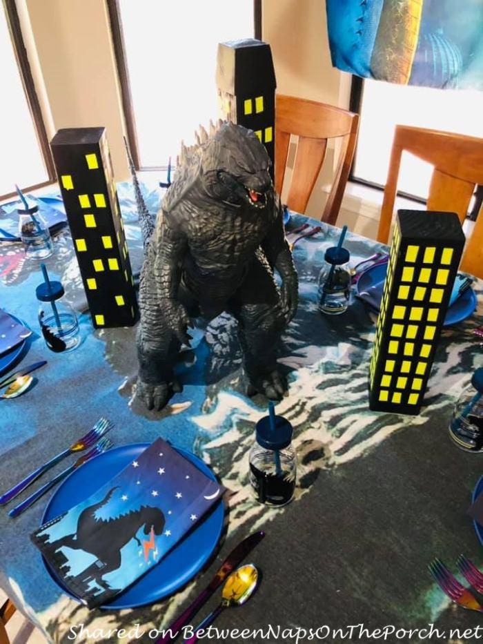 Godzilla in Godzilla Themed Tablescape