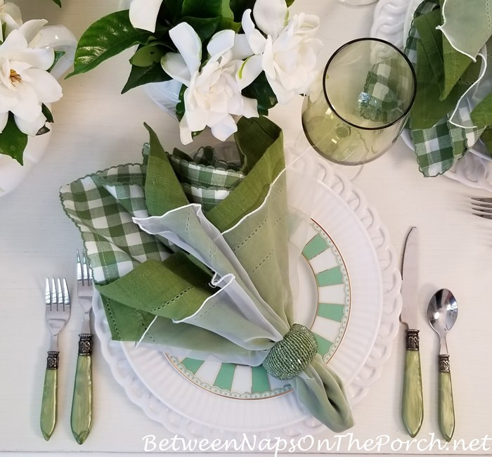 Green and White Spring Table Setting