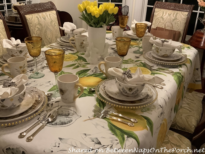 Meyer Lemon Tablecloth for a Bee Themed Table Setting