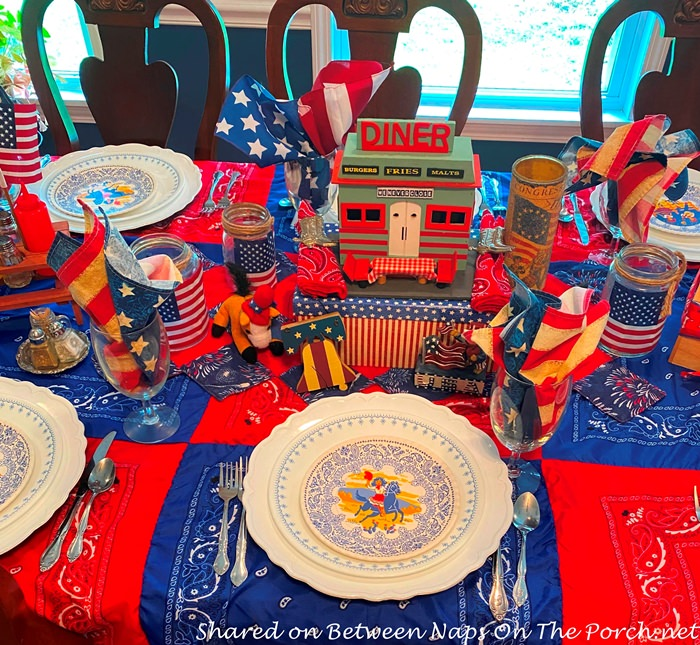 Red, White and Blue Table Setting, 4th of July Table