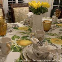 Yellow Tulips in Bee Themed Table Setting, Bee Sweet Dinnerware