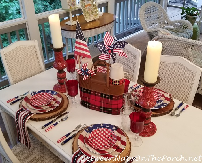 4th of July Table on the Porch, Flag Plates