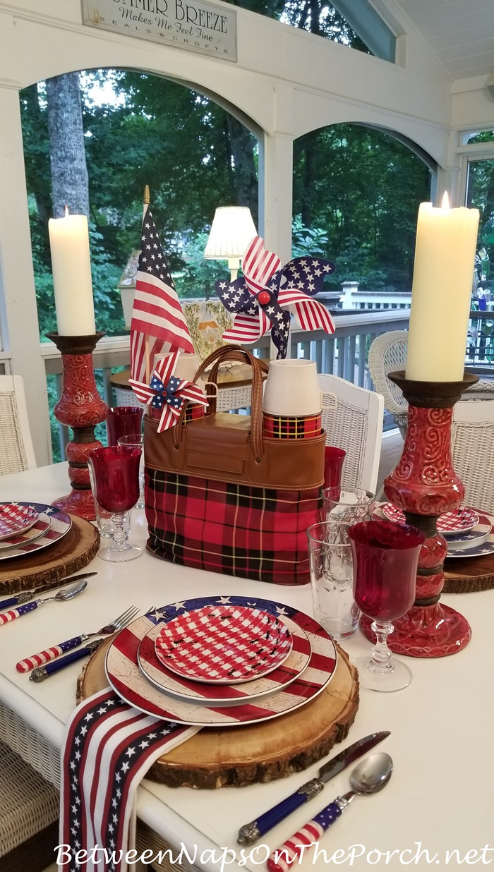 4th of July Table with Warren Kimble Colonial Dinnerware