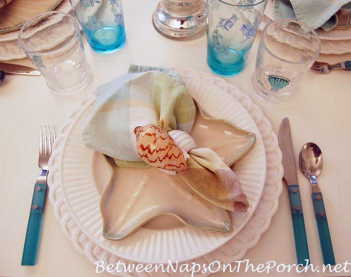 Aqua Flatware in Beach-Themed Table Settings