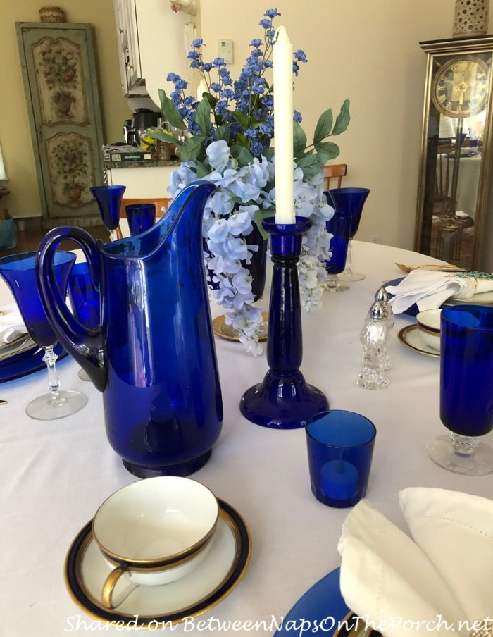 Blue and Gold for Mother's Day Table Setting