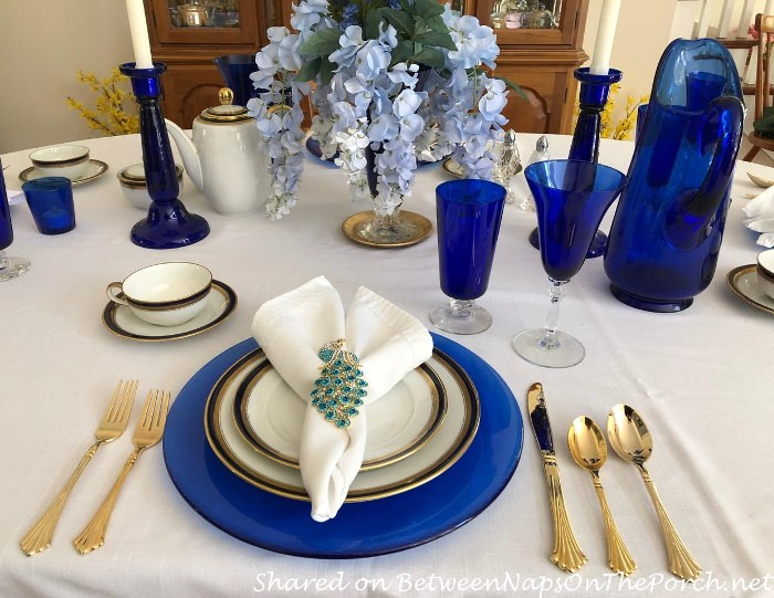 Mother's Day Table Setting in Blue and Gold