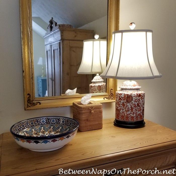 Beautiful, Elegant Lamp in Coral Orange