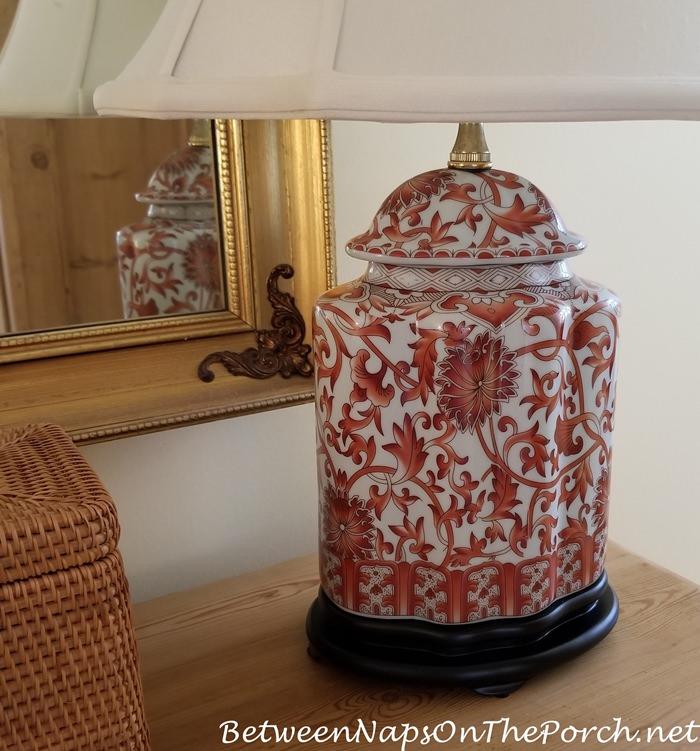 Beautiful Orange & White Oriental Style Lamp