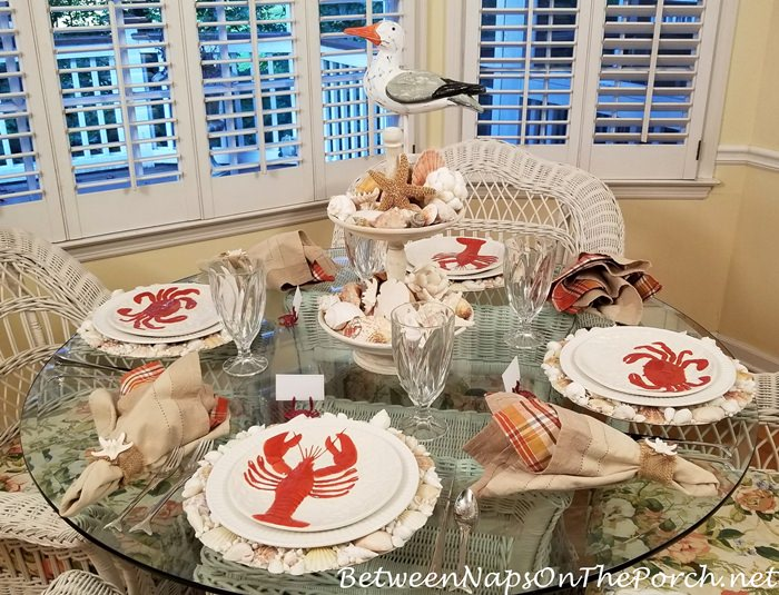 Seaside Themed Table Setting, Crab, Lobster Plates, Shell Centerpiece
