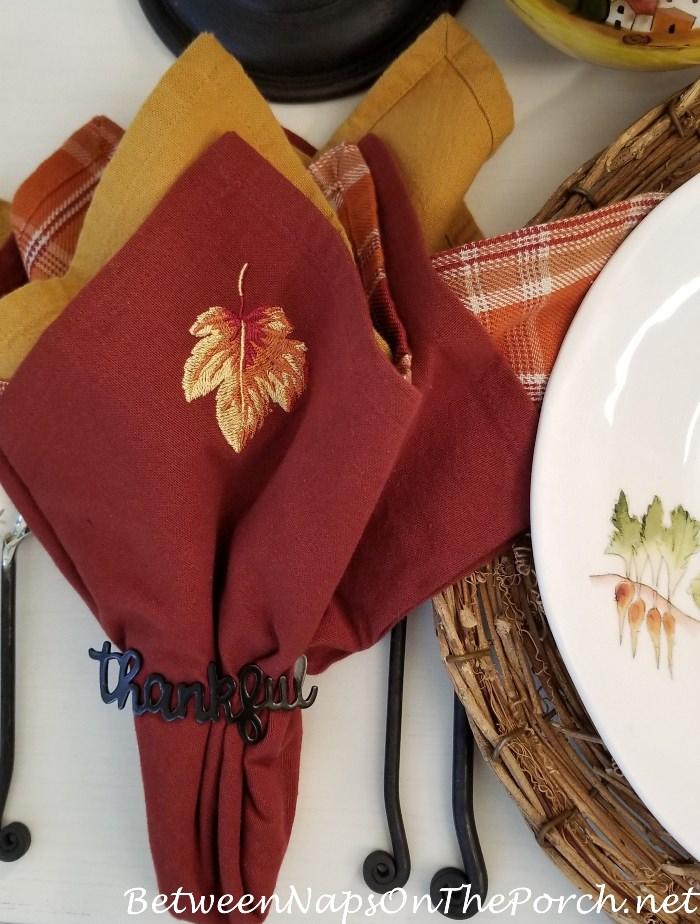 Autumn Fall Napkins, Leaf Motif