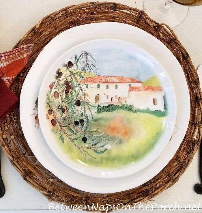 Autumn Olive Harvest Dishware, Fall Table Setting