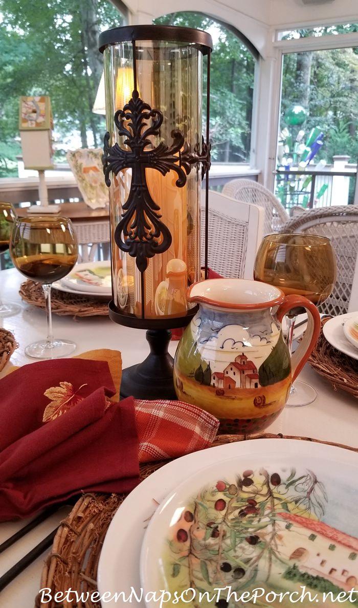 Candle Centerpiece, Autumn Table