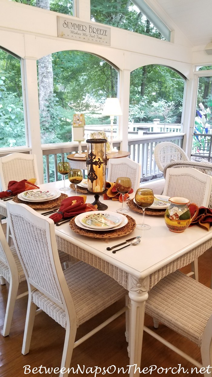 Early Autumn Table Setting on the Porch