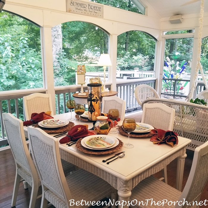 Porch Dining, Early Fall Tablescape
