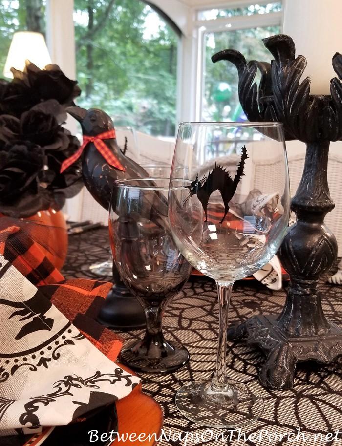 Black Cat Wine Glasses for Halloween
