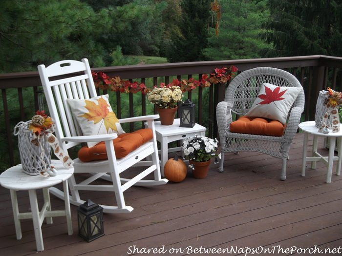 Deck Decorated for Fall