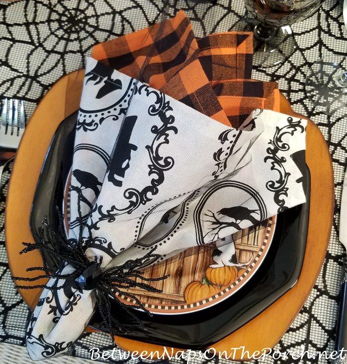 Halloween Napkins, Orange and Black Napkins