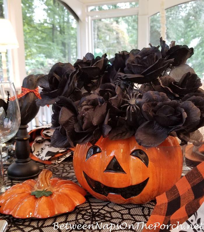 Halloween Pumpkin Centerpiece with Black Roses