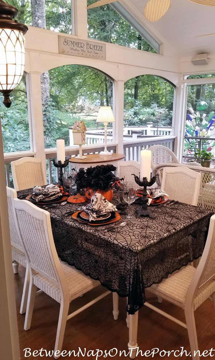 Halloween Table Setting, Porch Dining