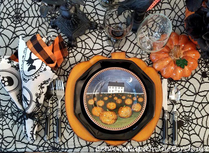 Halloween Table with Halloween Pumpkin Plates and Halloween Napkins