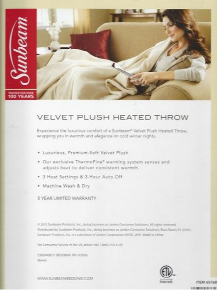 Velvet Plush Heated Throw