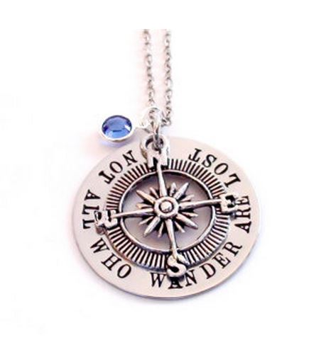 Travel Necklace: All Who Wander Are Not Lost