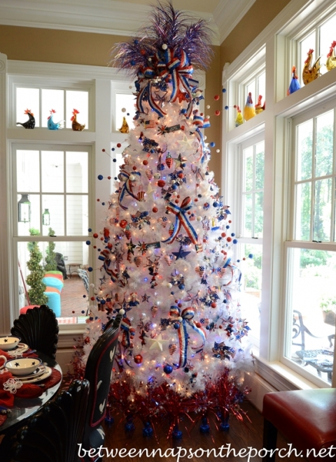 tag red white and blue decorations 4th of july decorating ideas decorate a tree - Red White And Blue Decorated Christmas Tree