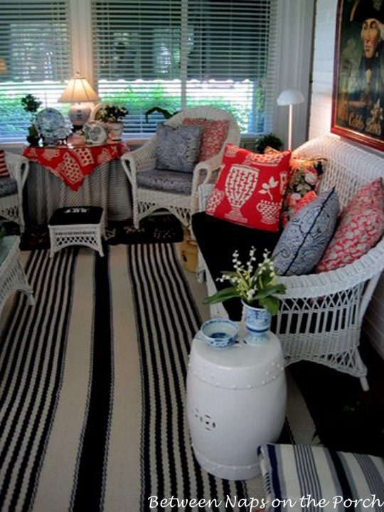 Tradtional Sunroom with White Wicker