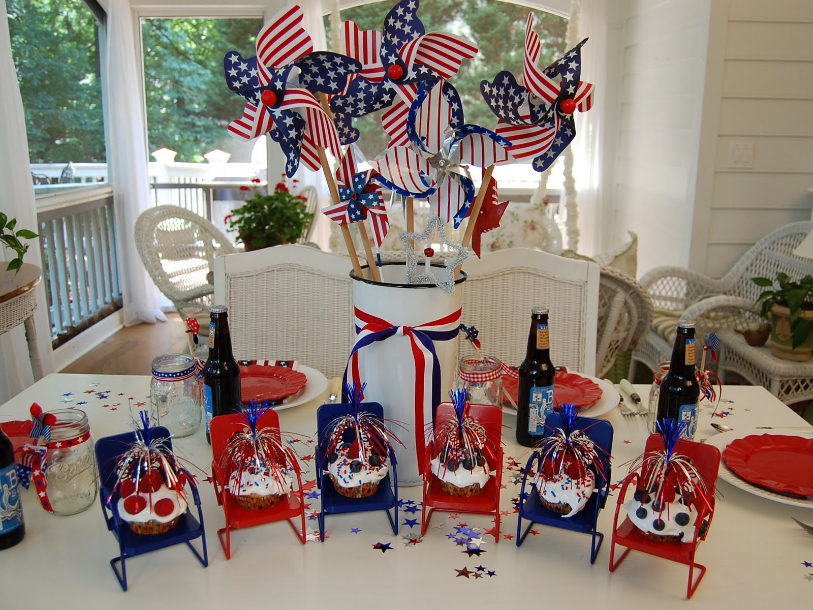 A Patriotic Celebration Table Setting Between Naps On The Porch