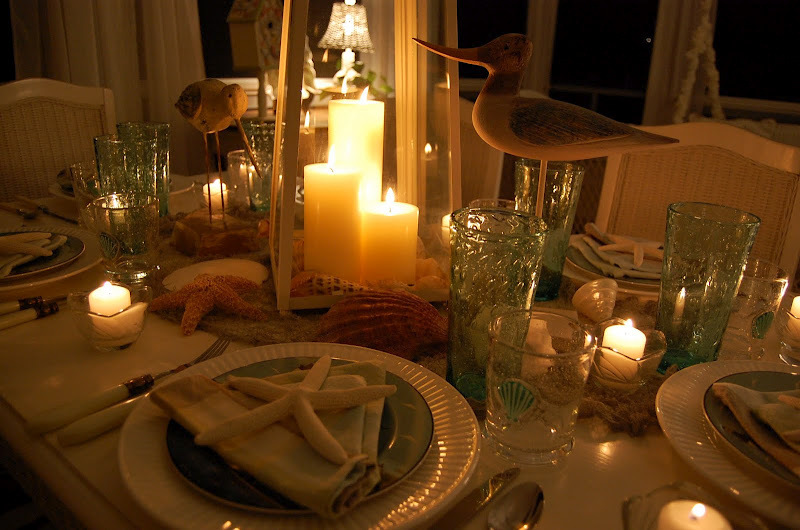 Beach Themed Table Setting with Candlelight Centerpiece