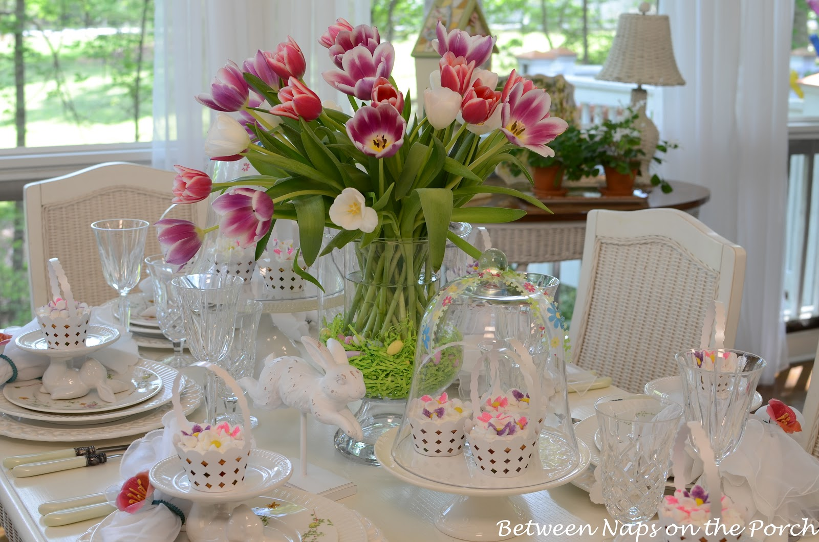 Easter Table Setting with Tulip Centerpiece and Pottery Barn Bunny Cupcake Stands & Easter Table Spring Setting with Tulip Centerpiece and Pottery Barn ...