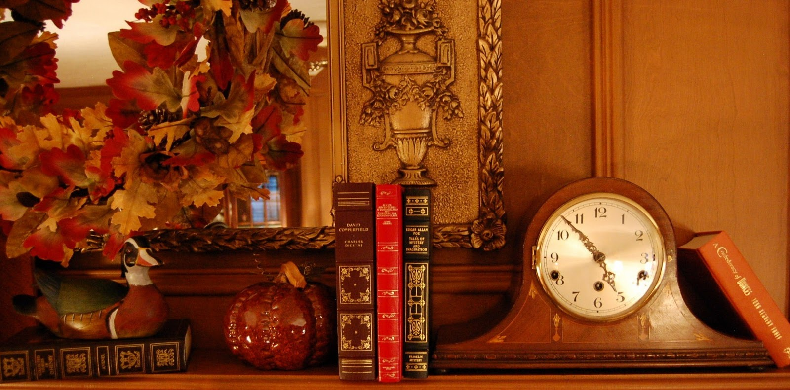 Antique Fireplace Screen >> Decorate a Fireplace Mantel for Fall or Autumn with Books ...