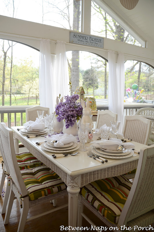 Easter Spring Table Setting with Wisteria and Pottery Barn Bunny Plates