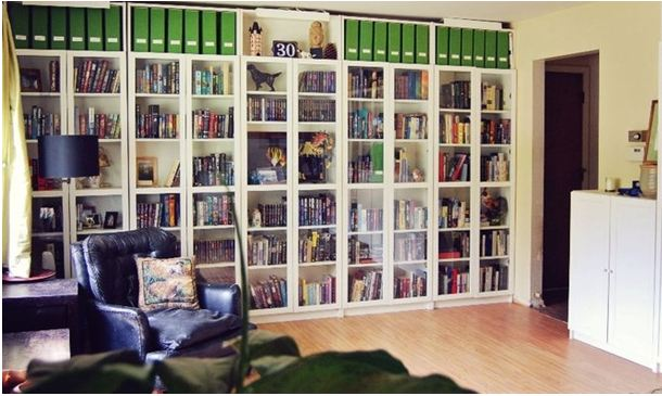 its a great example showing how ikea has designed a billy shelf for corners so your bookshelves can curve around a corner and keep on going down - Billy Bookshelves
