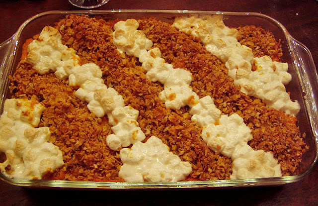 Sweet Potato Souffle with Marshmallow and Crunchy Topping