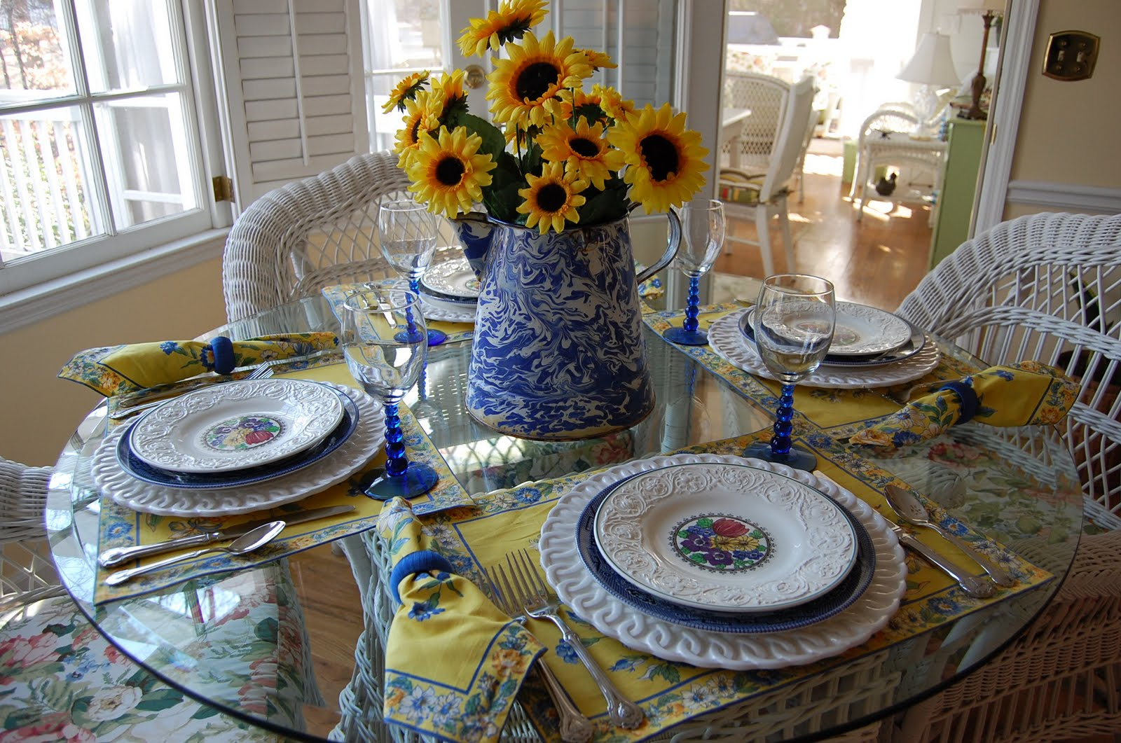 Spring Table Setting With Sunflower Centerpiece And