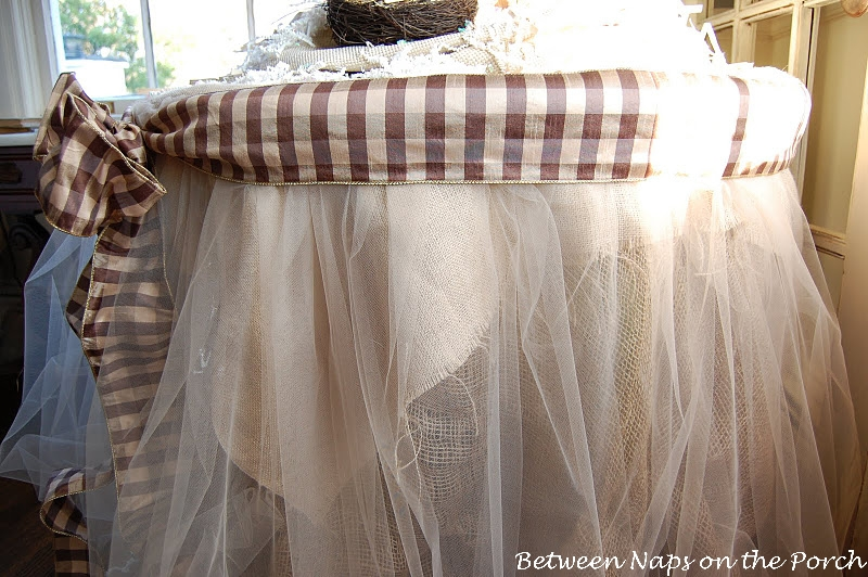 Burlap and Organza Table Skirt