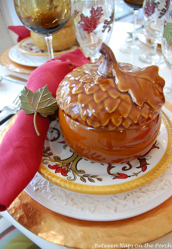 Fall Table Setting with Acorn Soup Tureen