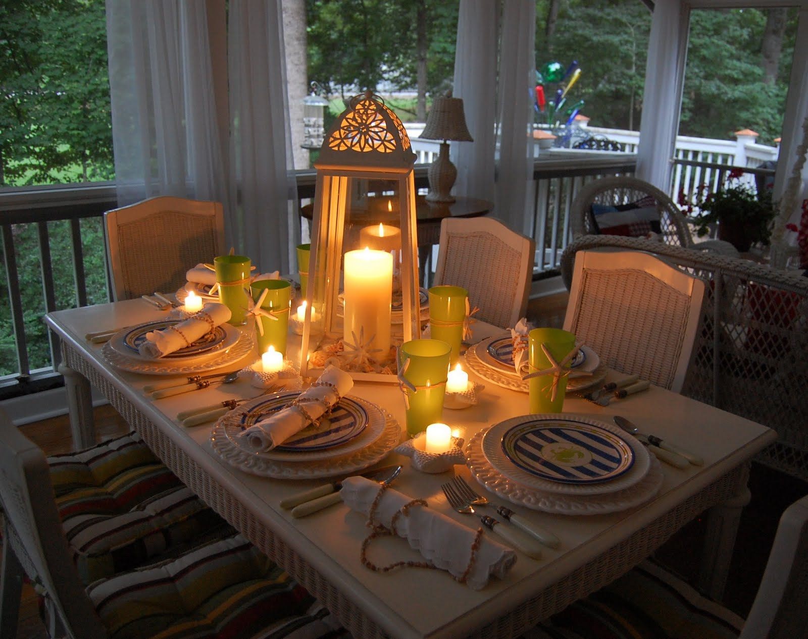 Beach Themed Tablescape Setting With A Lighthouse Style