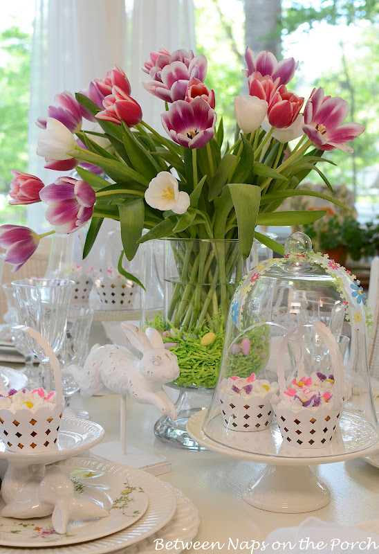 Easter Spring Table Setting with Pottery Barn Bunny Cupcake Stands