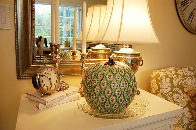 Decoupage a pumpkin to match your decor