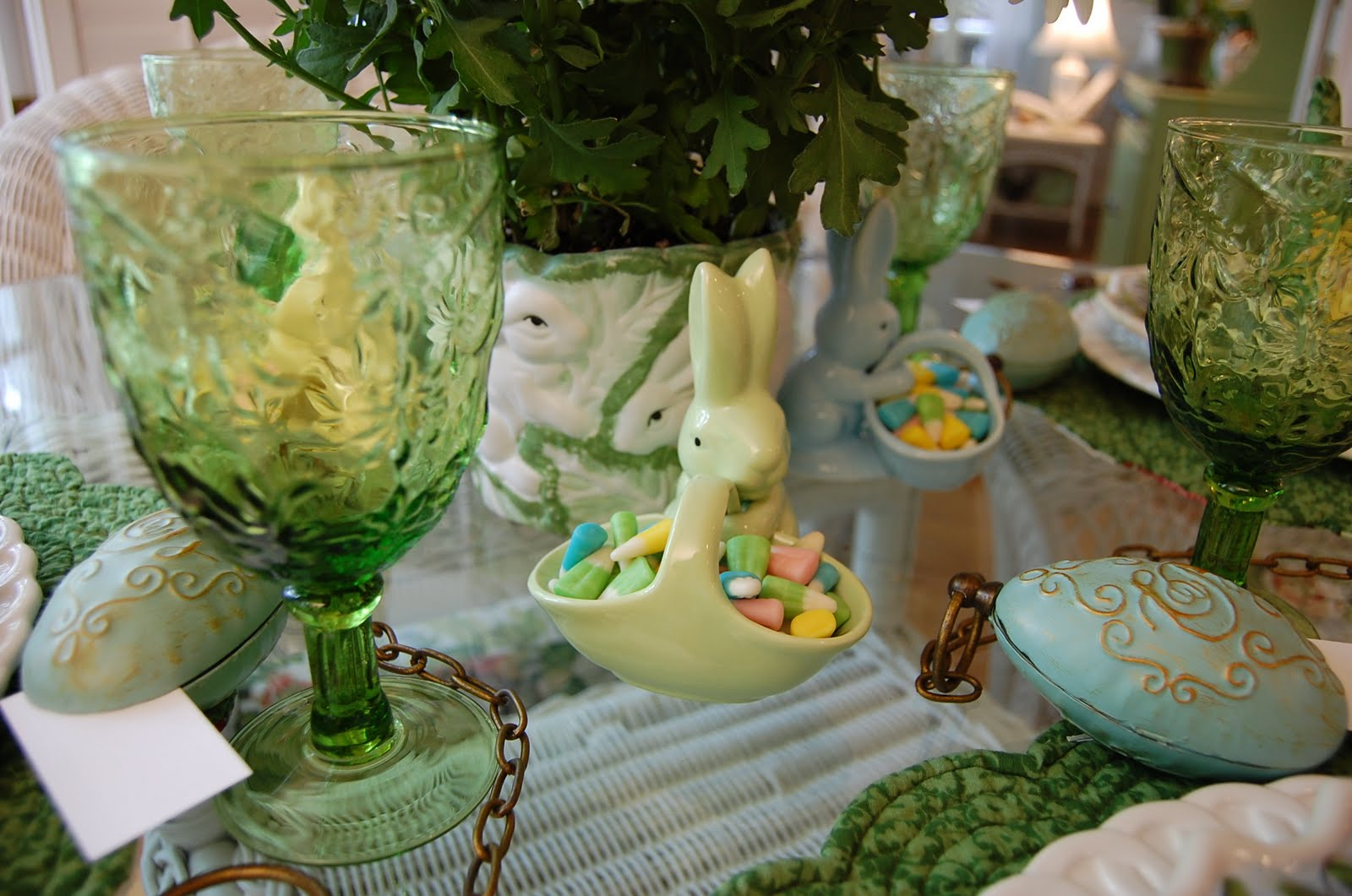 Easter Table Setting Tablescape With Floral Centerpiece