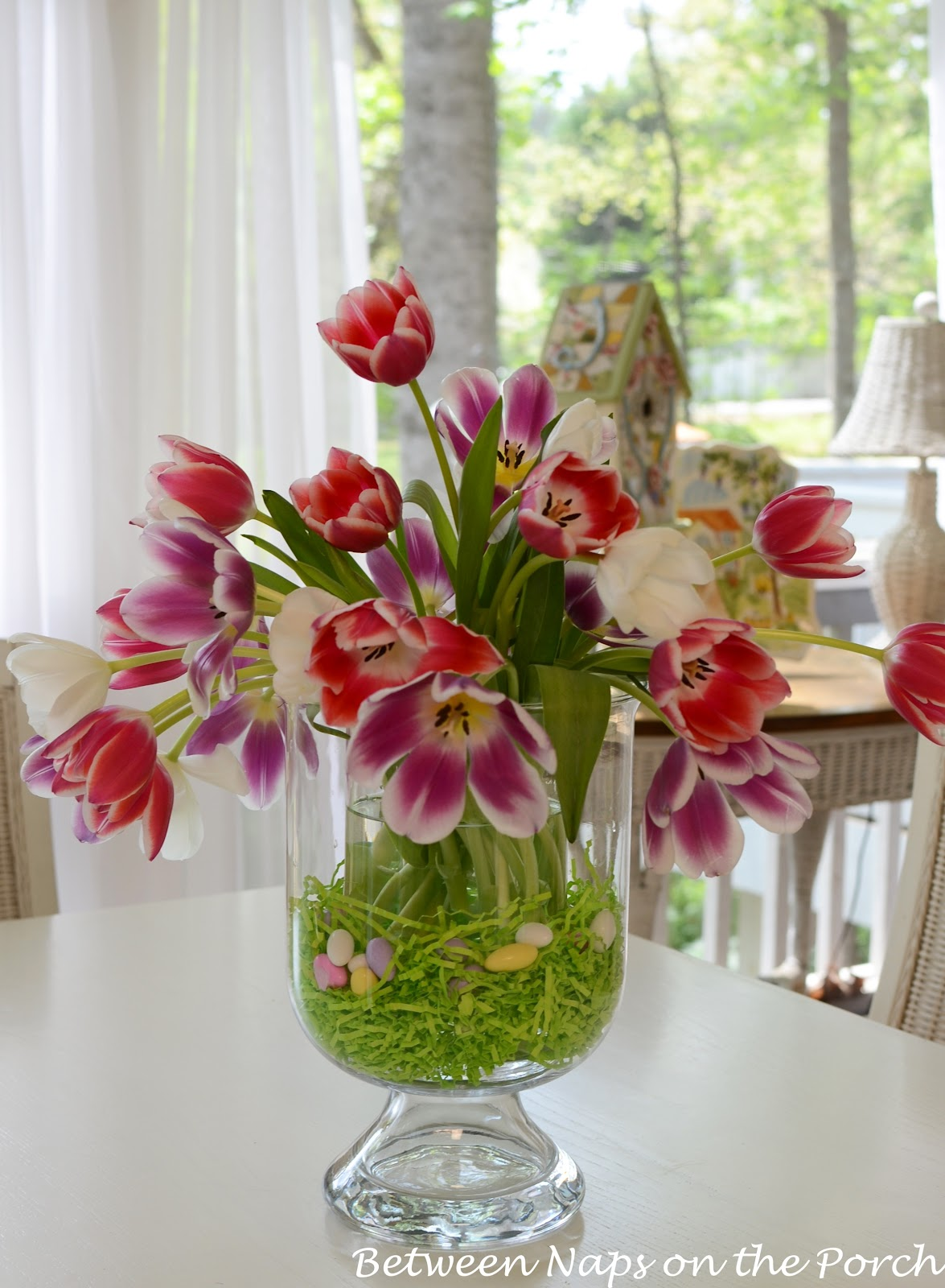 Easter tulip centerpiece in pottery barn knock off double