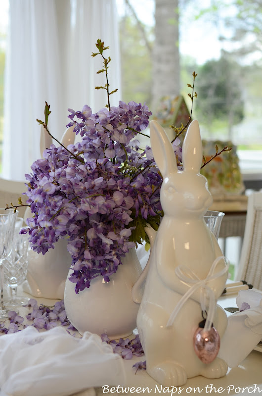 Easter Spring Tablescape Table Settings with Pottery Barn Bunny Plates