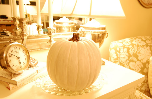Decoupage a pumpkin to match your decor