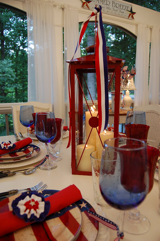 Red Lantern Centerpiece for the 4th of July