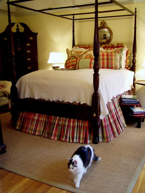 Master Bedroom with Moire Plaid Bedding